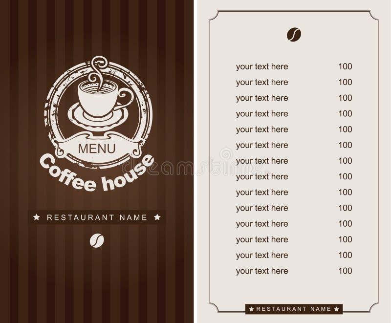 Carte de café illustration stock