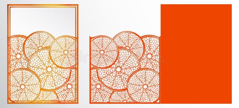 Carte de calibre de coupe de laser de vecteur Modèle naturel abstrait avec le Se illustration libre de droits