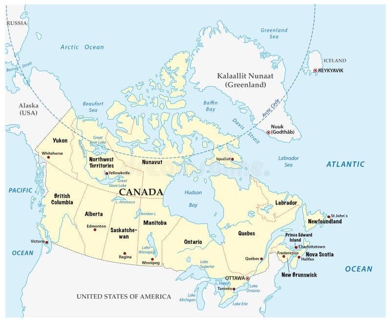 Carte de Canada avec des provinces et la frontière illustration stock