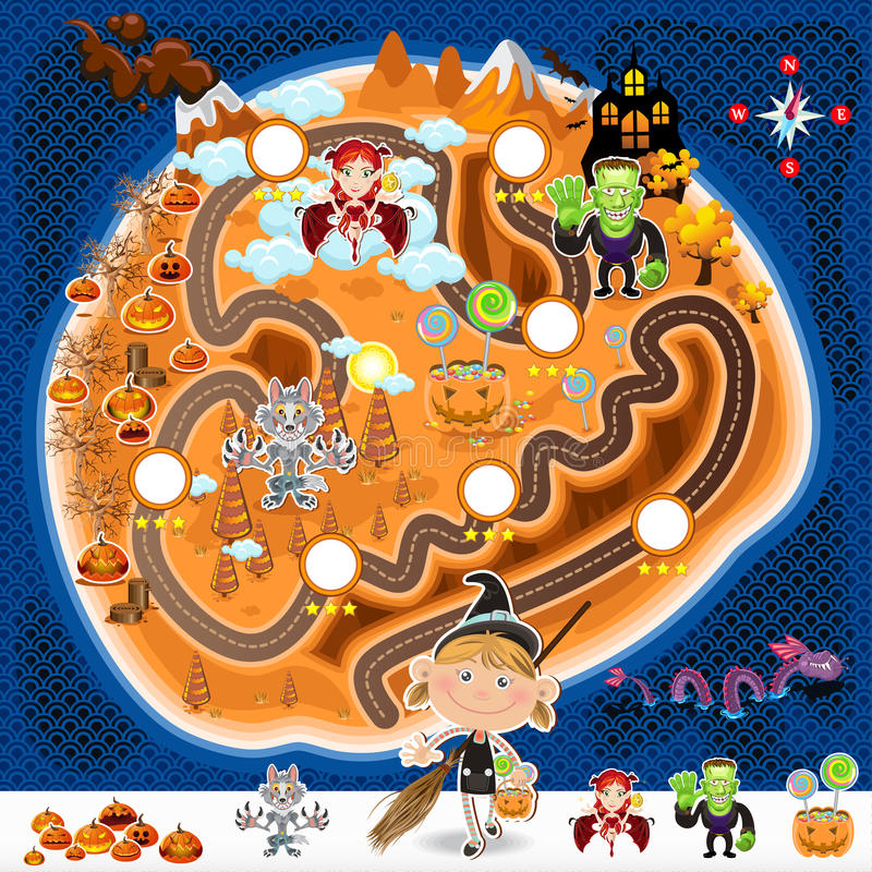Carte de capitaux de jeu de Halloween illustration de vecteur