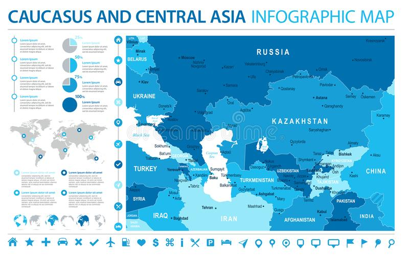 Carte de Caucase et d'Asie centrale - illustration graphique de vecteur d'infos illustration libre de droits