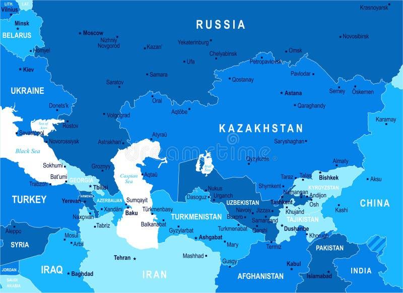 Carte de Caucase et d'Asie centrale - illustration de vecteur illustration libre de droits