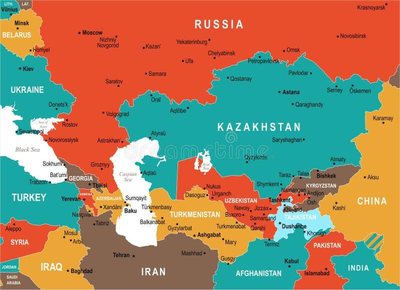 Carte de Caucase et d'Asie centrale - illustration de vecteur illustration stock