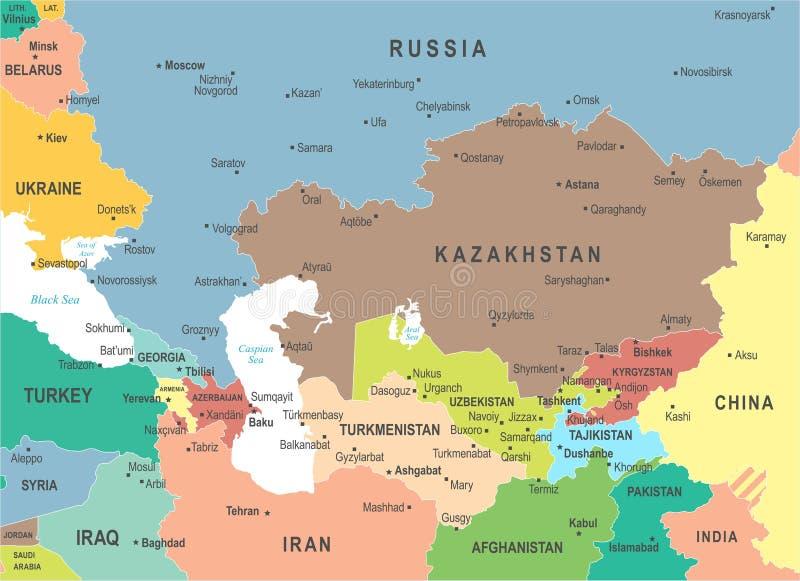 Carte de Caucase et d'Asie centrale - illustration de vecteur illustration de vecteur