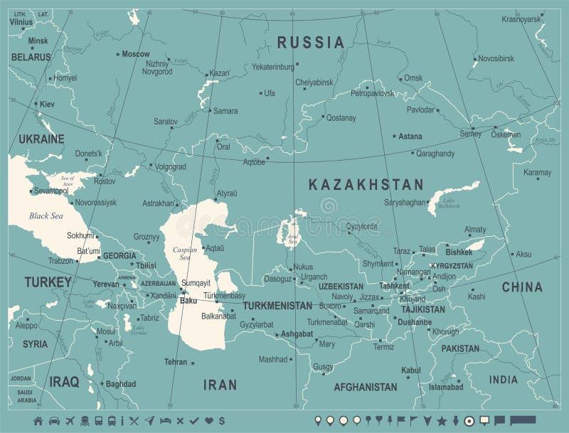 Carte de Caucase et d'Asie centrale - illustration de vecteur de vintage illustration de vecteur