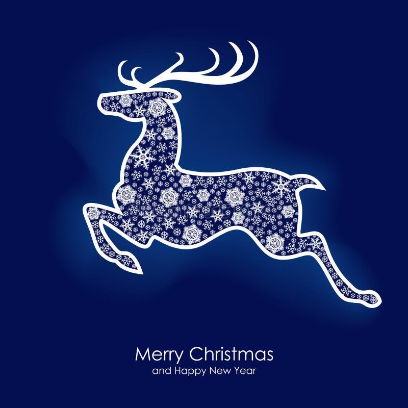Carte de cerfs communs de Noël illustration stock