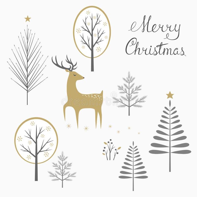 Carte de cerfs communs de Noël illustration libre de droits