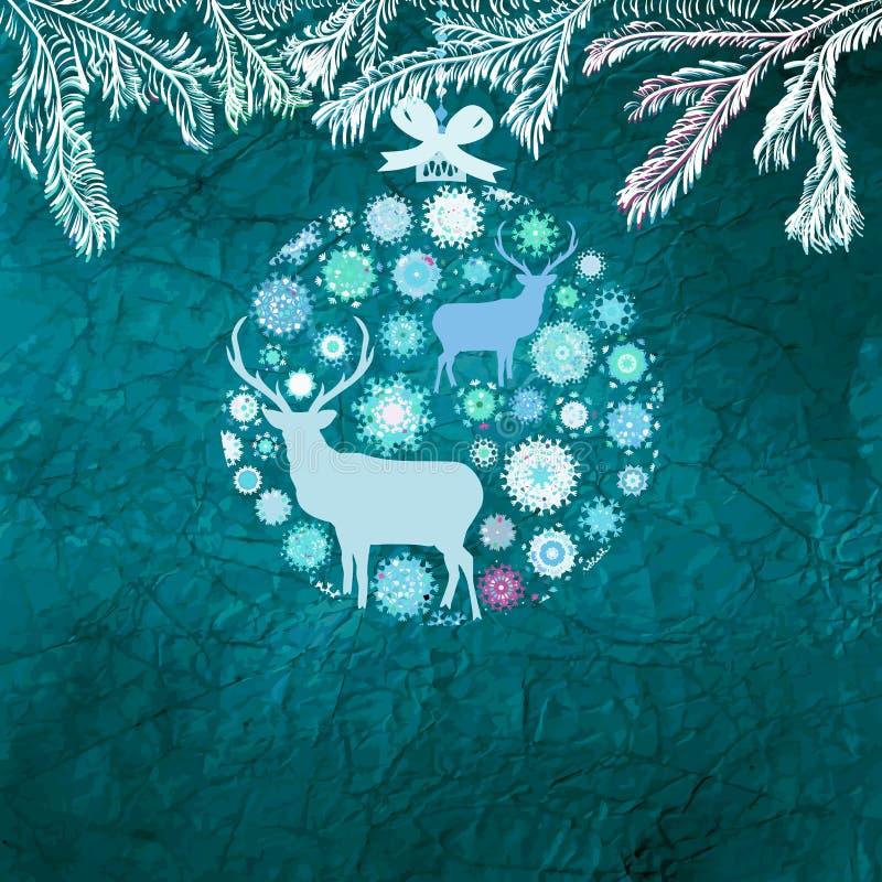 Carte de cerfs communs de Noël. ENV 8 illustration stock