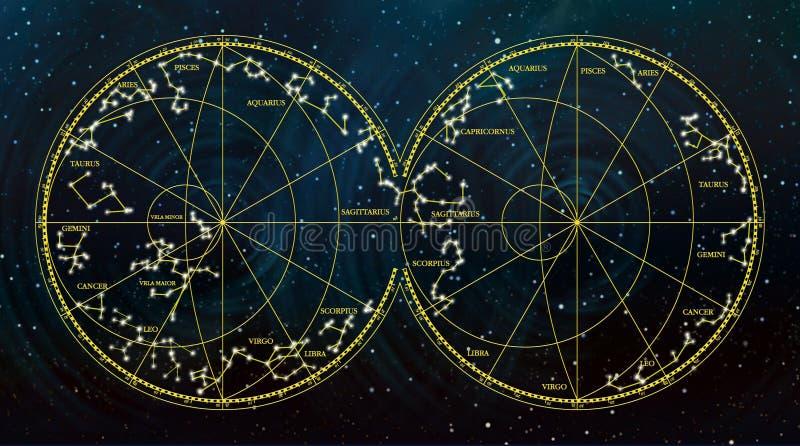 Carte de ciel dépeignant des constellations et des signes de zodiaque images libres de droits