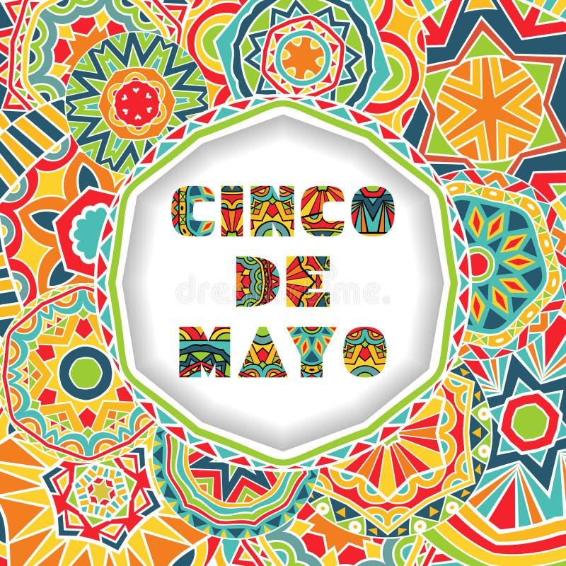 Carte de Cinco De Mayo avec les salutations marquant avec des lettres et le fond fleuri illustration stock