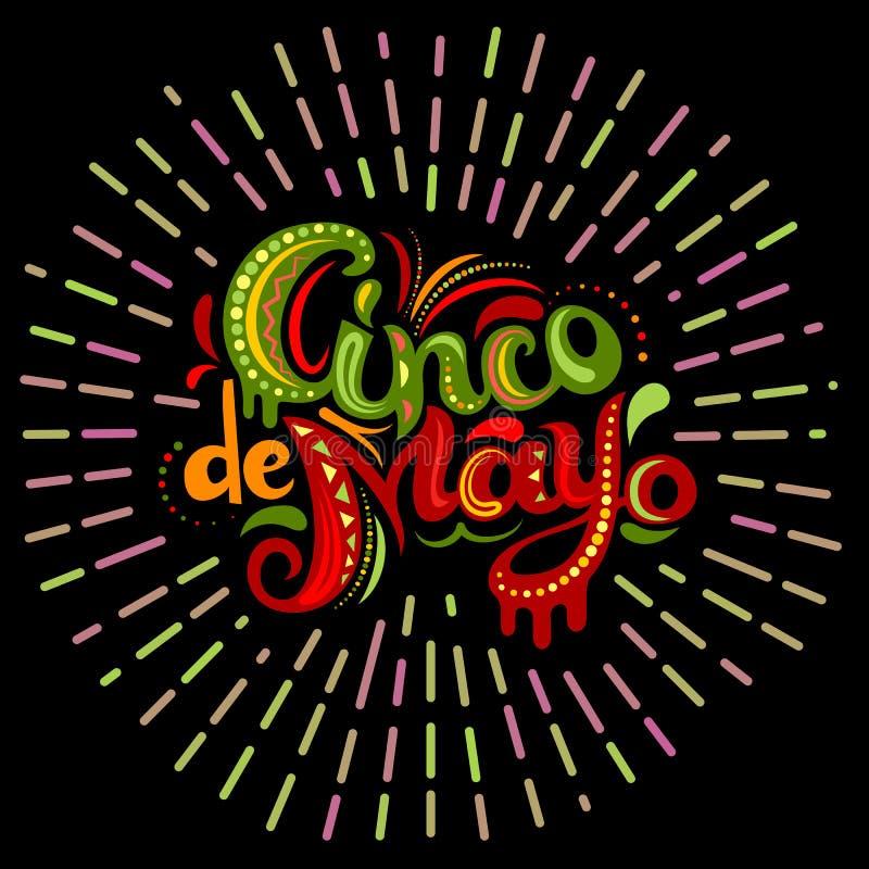 Carte de Cinco De Mayo avec les lettres fleuries lumineuses illustration stock