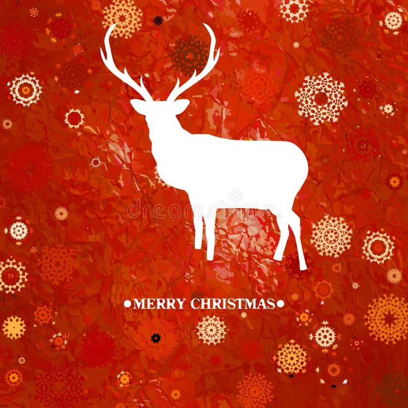 Carte de cintage de cerfs communs de Noël. ENV 8 illustration libre de droits
