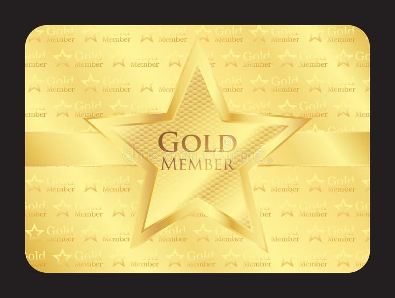 Carte de club de membre d'or avec la grande étoile illustration stock
