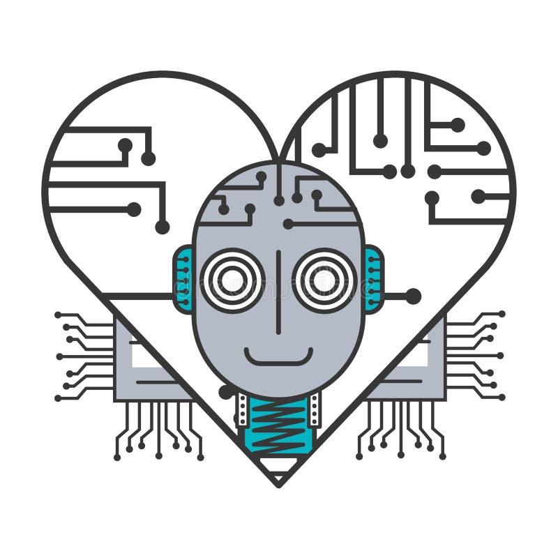 Carte de coeur d'intelligence artificielle de robot illustration stock
