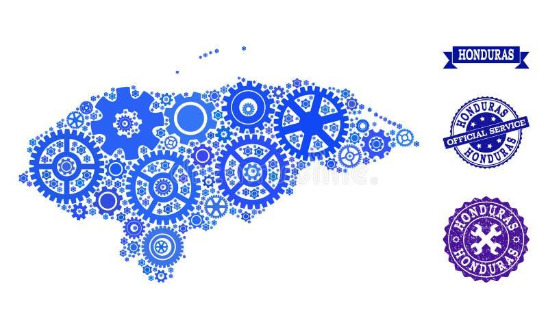 Carte de collage du Honduras avec des vitesses et des joints grunges pour le service illustration libre de droits