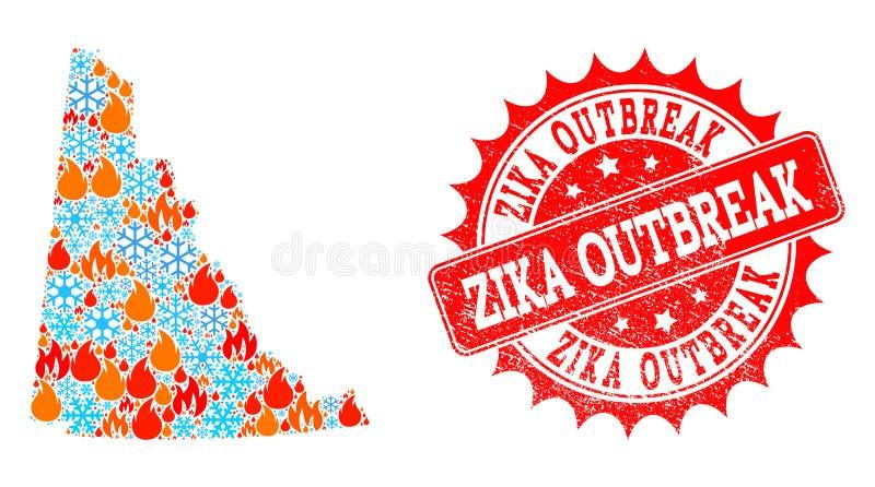 Carte de collage de province du Yukon du feu et des flocons de neige et du joint grunge de manifestation de Zika illustration de vecteur
