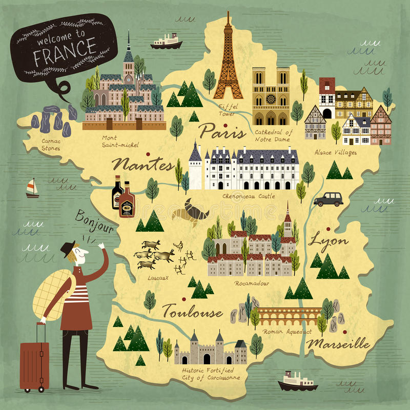 Carte de concept de voyage de Frances illustration stock