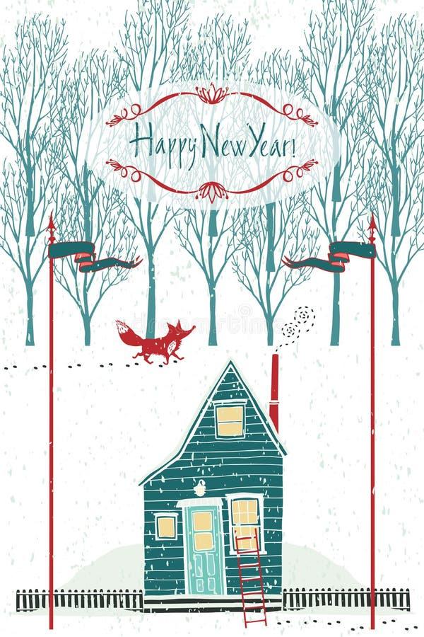 Carte de conception de bonne année avec une maison dans la forêt d'hiver illustration stock