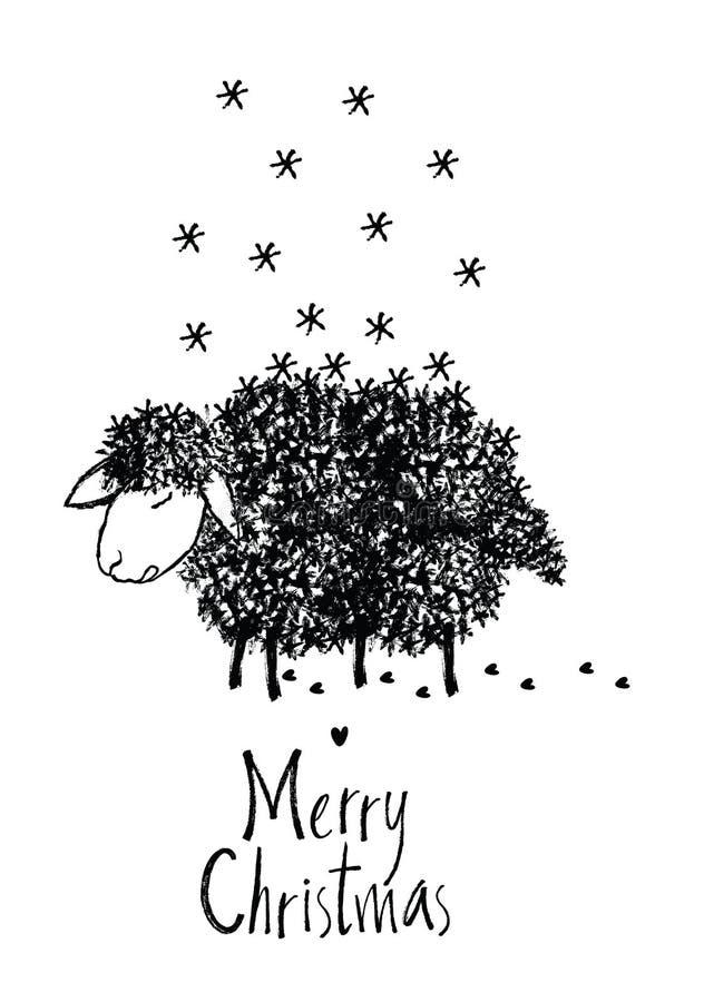 Carte de conception de Joyeux Noël avec des moutons illustration stock
