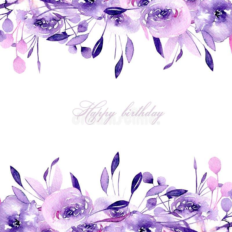 Carte de conception florale avec les roses pourpres et les herbes d'aquarelle, tirées par la main sur un fond blanc illustration libre de droits