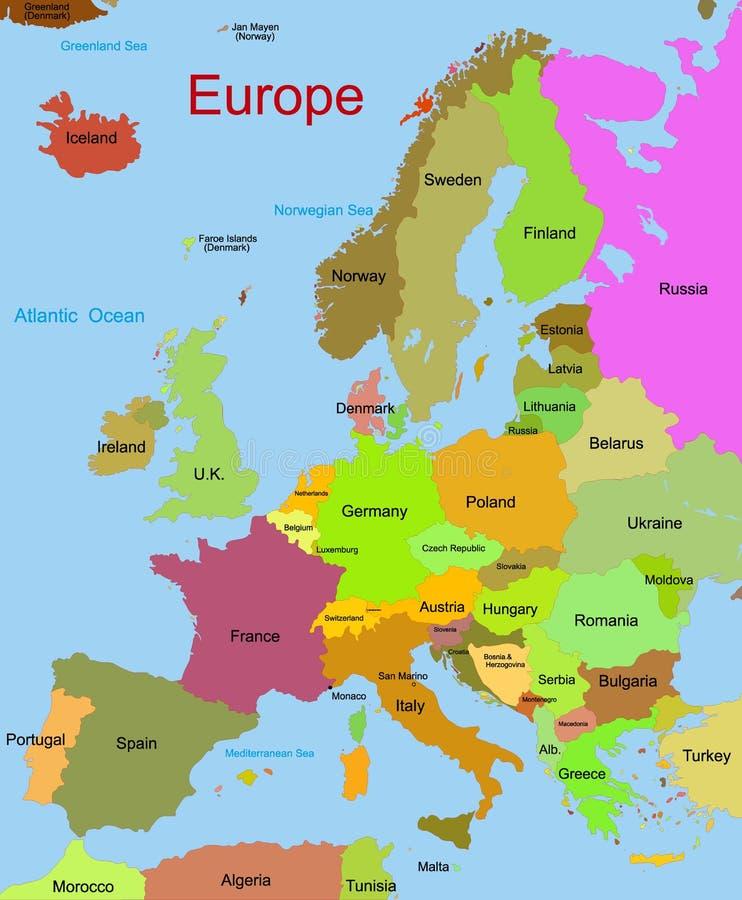 Carte de continent européen illustration de vecteur