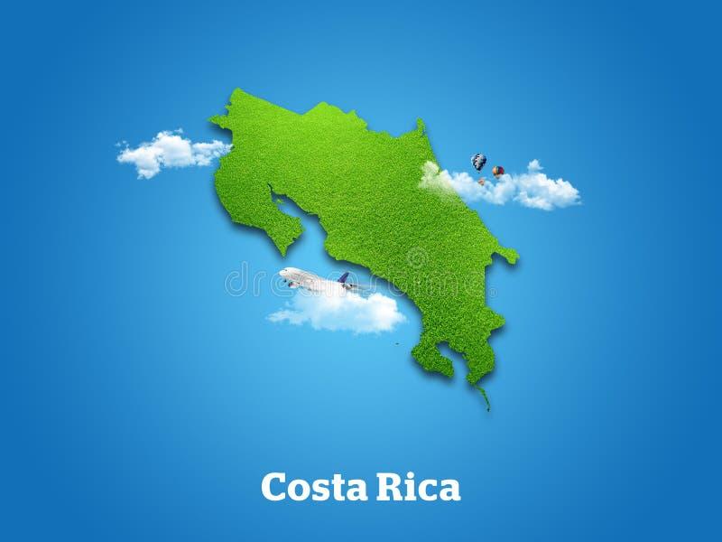 Carte de Costa Rica Herbe verte, ciel et concept nuageux photographie stock