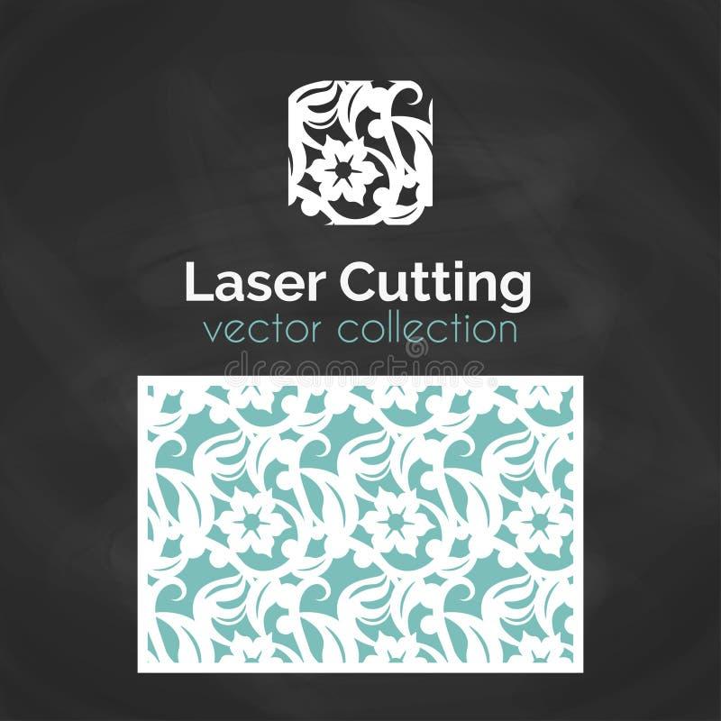 Carte de coupe de laser Calibre pour la coupe de laser Illustration de coupe-circuit avec la décoration abstraite Découpé avec de illustration stock