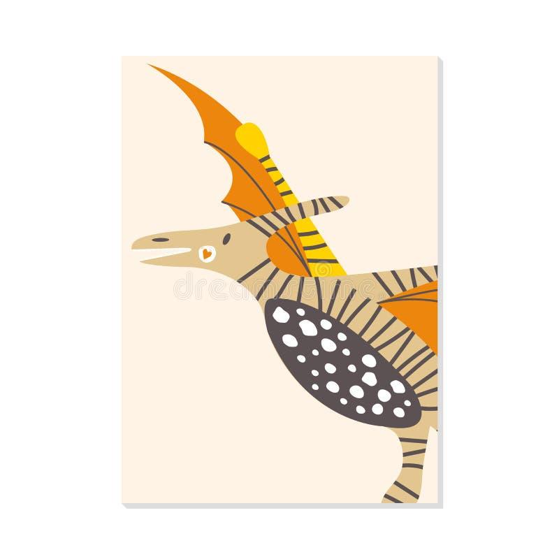Carte de crèche avec le ptérodactyle mignon de dinosaure Pour des copies d'enfants, cartes postales, art de mur illustration de vecteur