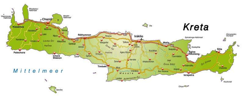Carte de Crète avec des routes illustration libre de droits