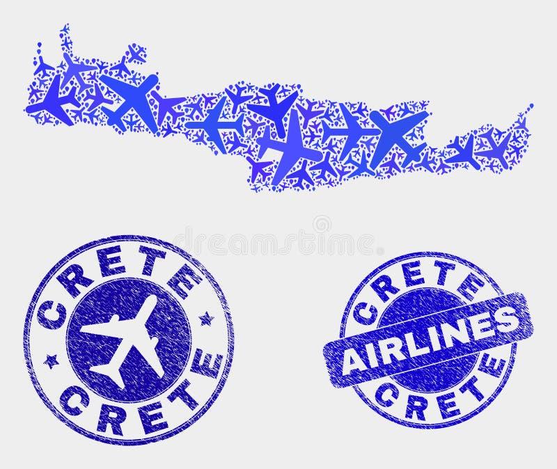 Carte de Crète de vecteur de mosaïque d'avions et joints grunges illustration libre de droits