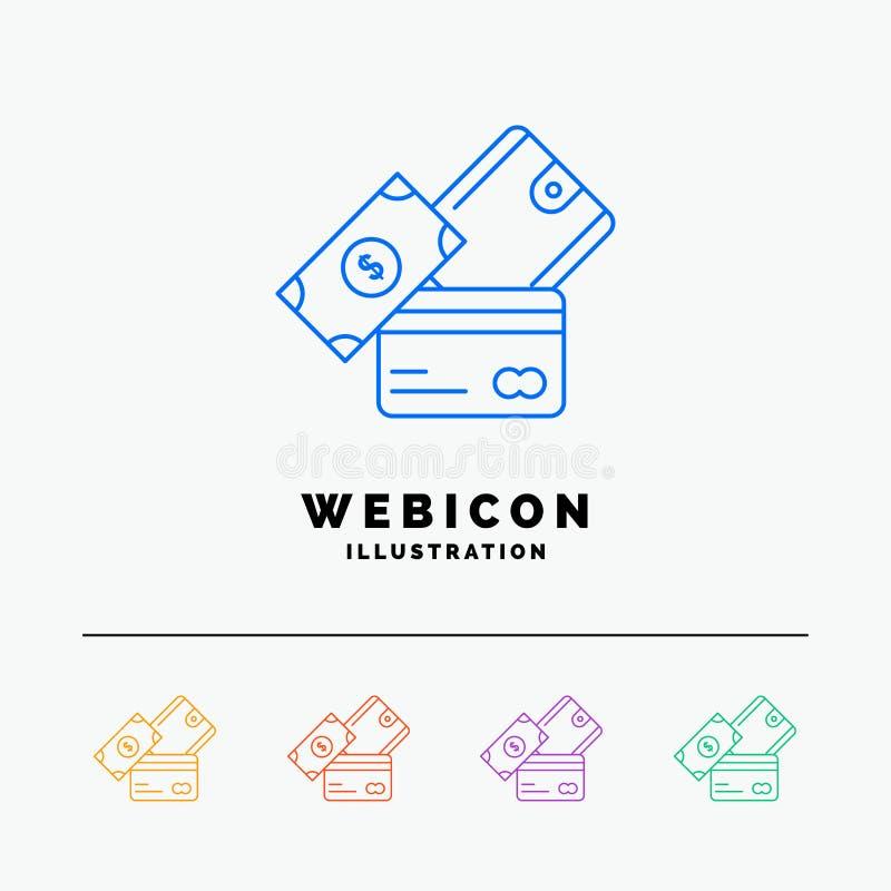 carte de crédit, argent, devise, dollar, discrimination raciale du portefeuille 5 calibre d'icône de Web d'isolement sur le blanc illustration stock