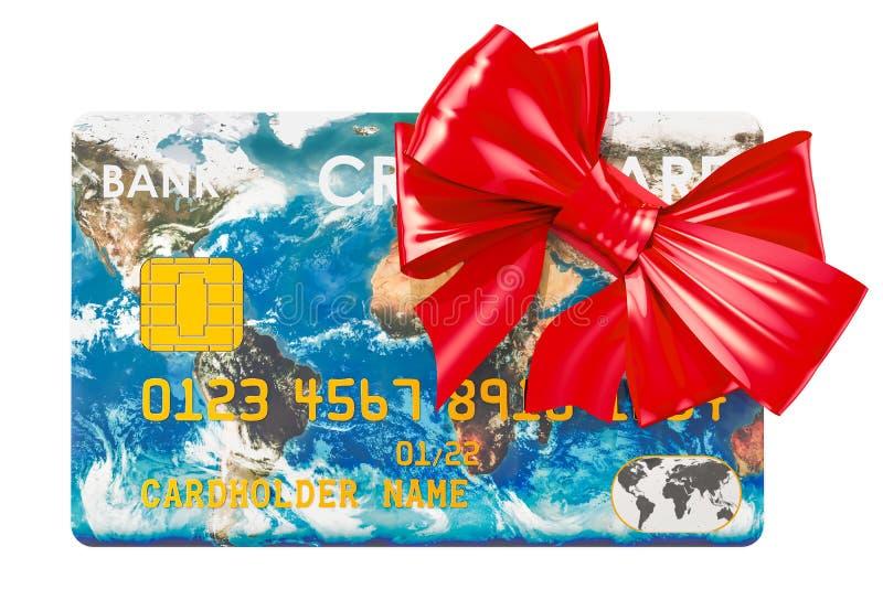 Carte de crédit avec l'arc, concept global gratuit de service bancaire 3d au sujet de illustration stock