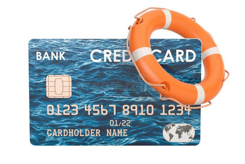 Carte de crédit avec la bouée de sauvetage, concept de paiement de sécurité renderin 3D illustration libre de droits