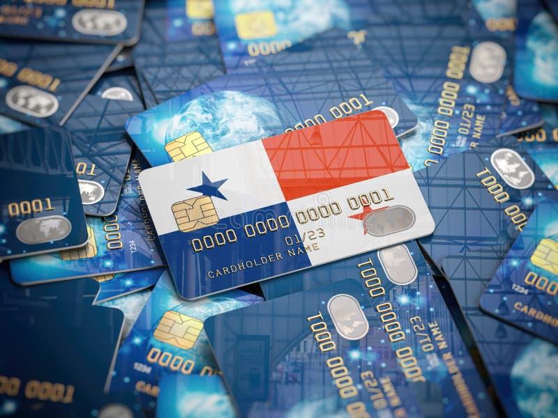 Carte de crédit de banque au Panama sur le tas d'autres différentes cartes noires Ouvrant un compte bancaire au Panama en mer illustration stock