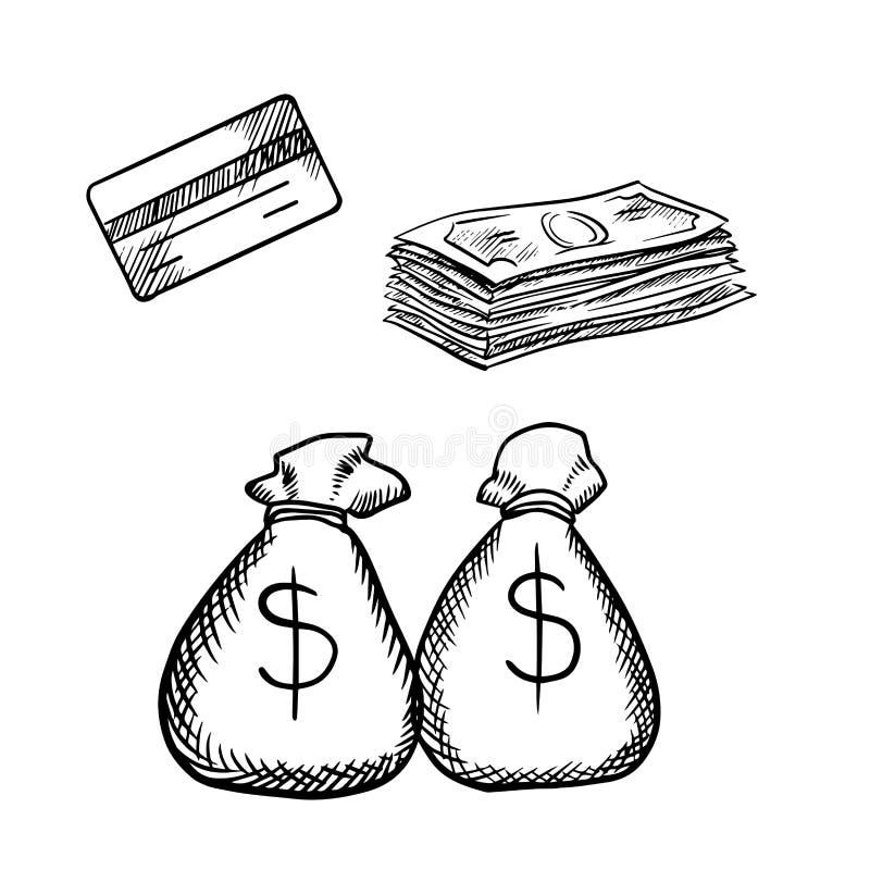 Carte de crédit, billets d'un dollar et sacs d'argent illustration de vecteur