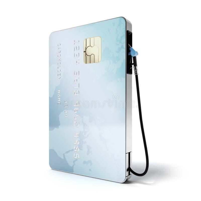 Carte de crédit bleue avec le gicleur de gaz illustration stock