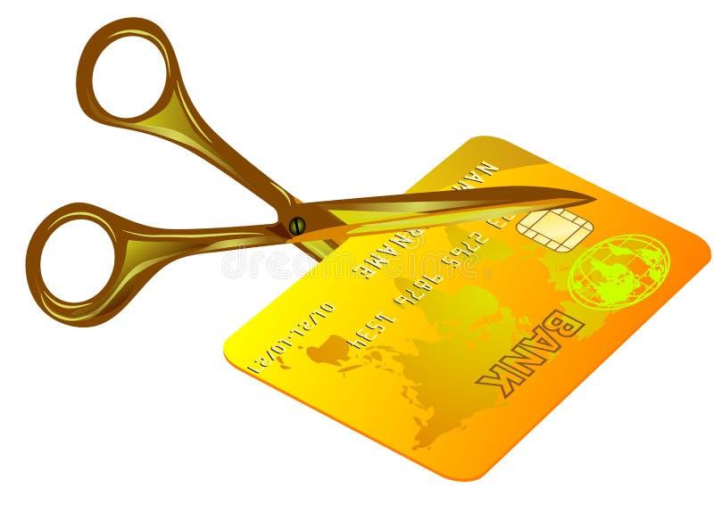 Carte de crédit coupée illustration stock