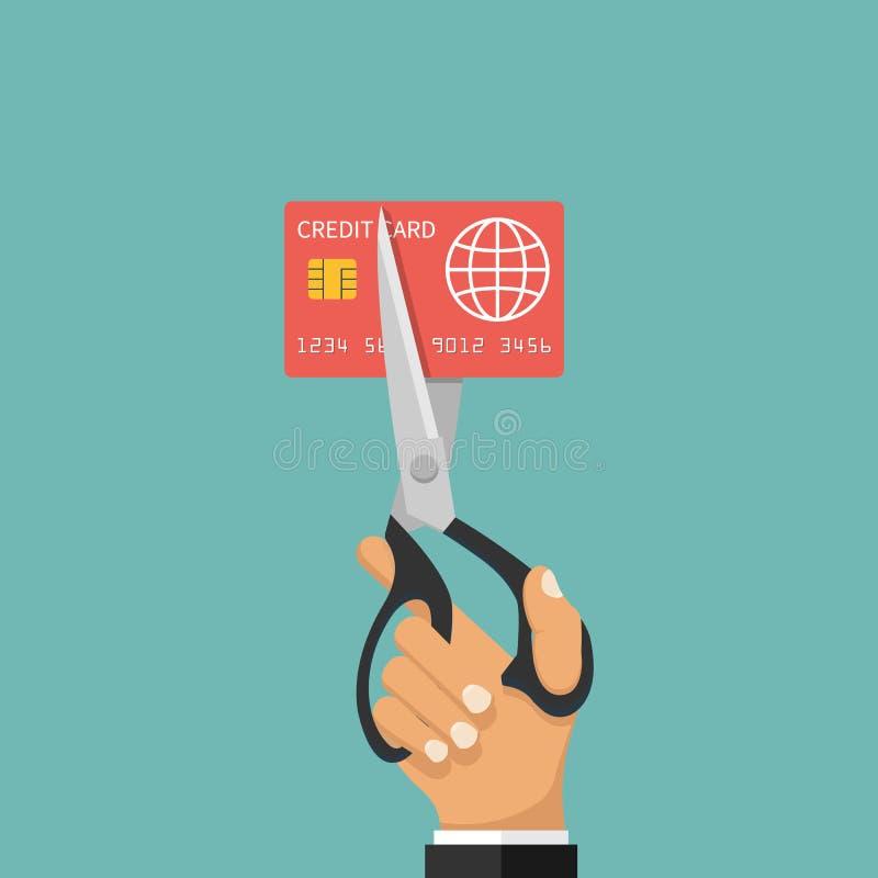 Carte de crédit de coupe illustration stock