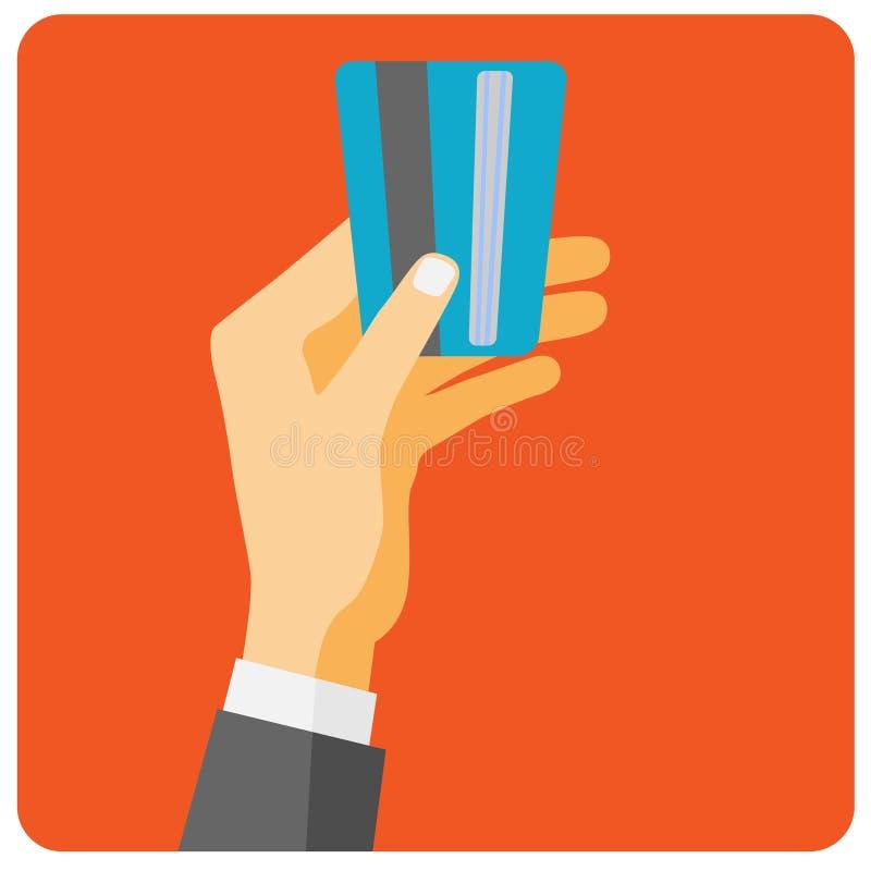 Carte de crédit de prise de main à payer illustration libre de droits
