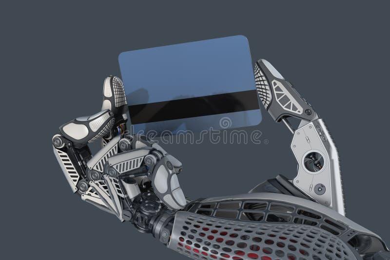 Carte de crédit en plastique robotique de participation de bras entre les doigts illustration de vecteur