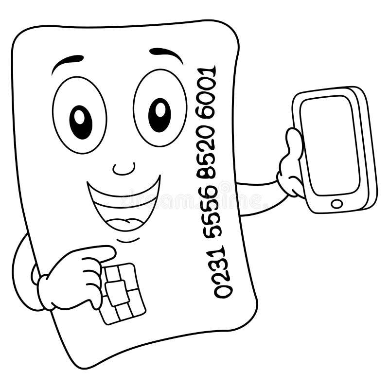Carte de crédit heureuse de coloration avec le téléphone portable illustration de vecteur
