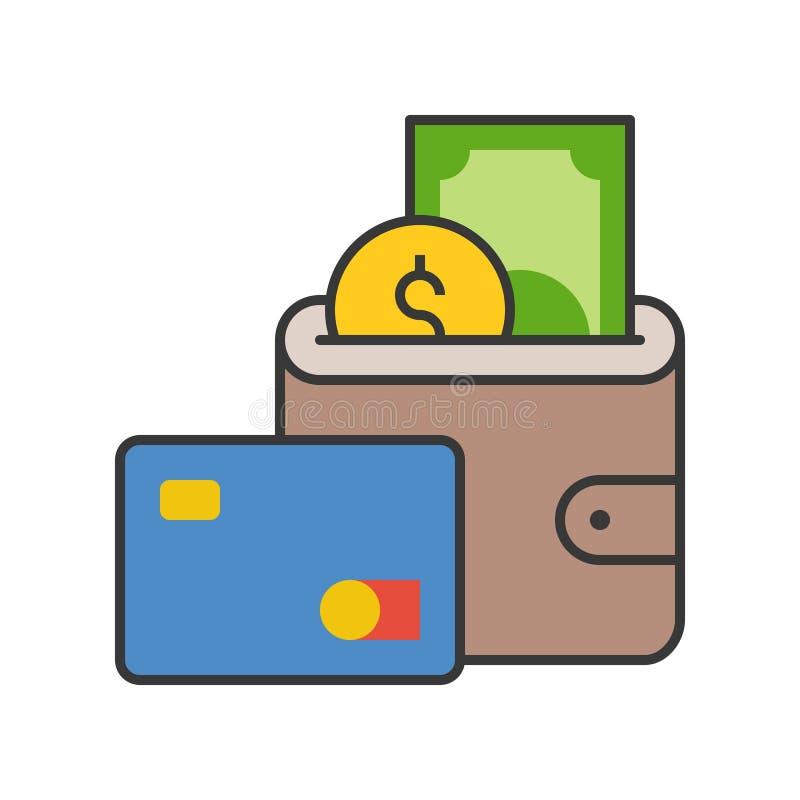Carte de crédit, portefeuille et argent liquide, banque et icône relative financière illustration libre de droits