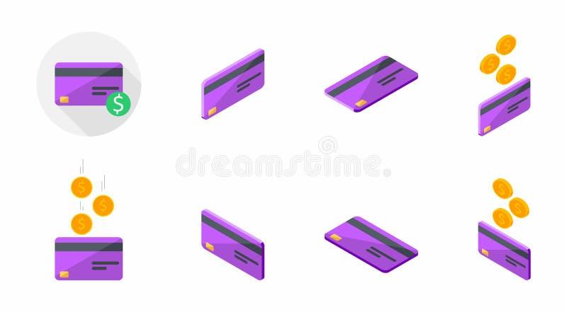 Carte de crédit pourpre, carte de banque, isométrique, finances, affaires, aucun fond, vecteur, icône plate, paquet d'icône, ense illustration de vecteur
