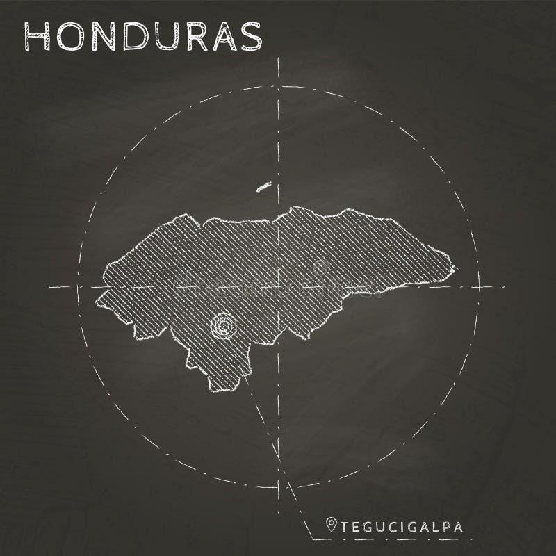 Carte de craie du Honduras avec tiré par la main marqué de capital illustration stock
