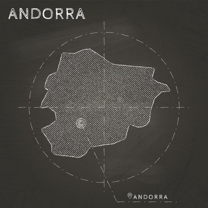 Carte de craie de l'Andorre avec tiré par la main marqué de capital illustration libre de droits