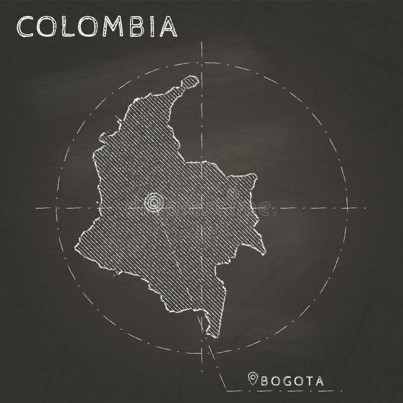 Carte de craie de la Colombie avec tiré par la main marqué de capital illustration stock
