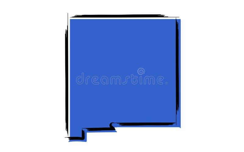 Carte de croquis bleue stylisée du Nouveau Mexique illustration stock