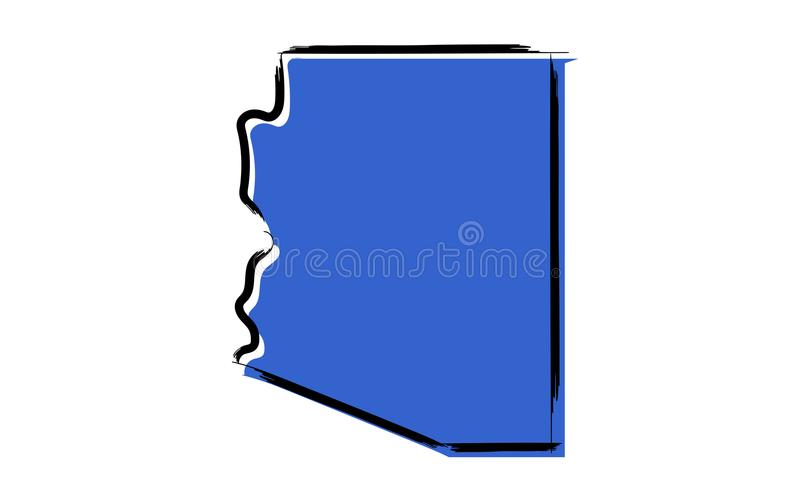 Carte de croquis bleue stylisée de l'Arizona illustration stock