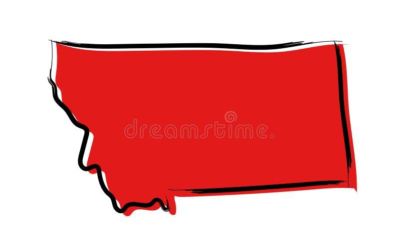 Carte de croquis rouge du Montana illustration libre de droits