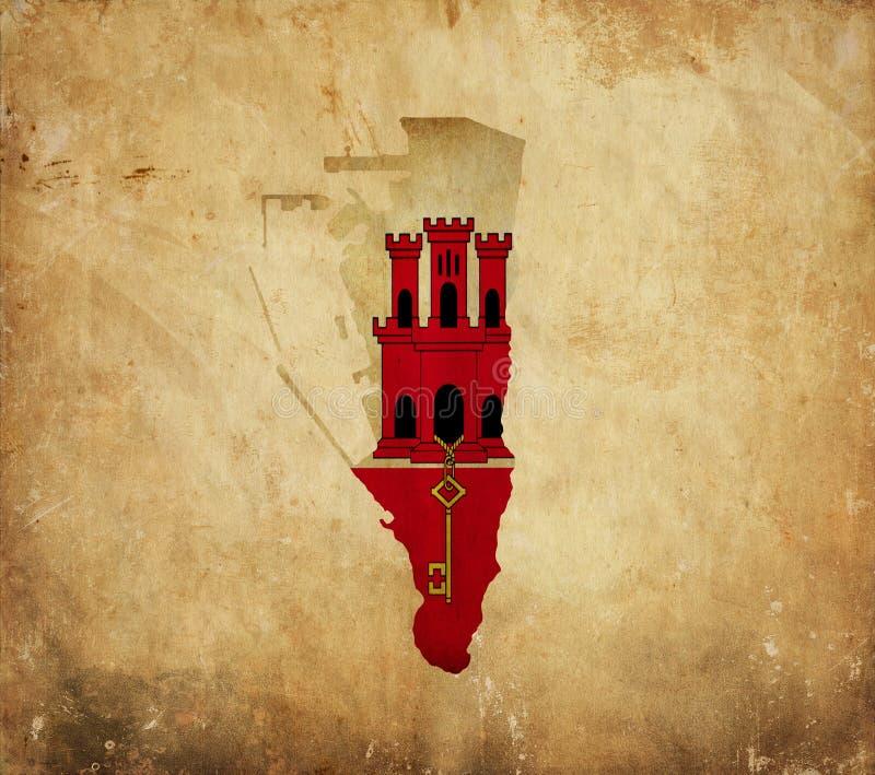 Carte de cru du Gibraltar sur le papier grunge photos libres de droits